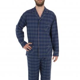 Pyjama long Eminence en coton gratté : Veste boutonnée et pantalon à carreaux bleu marine et blancs