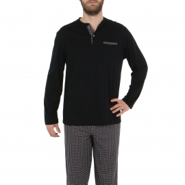 Pyjama long Eminence en jersey de coton mercerisé : tee-shirt col tunisien noir, pantalon noir à motifs