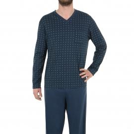 Pyjama long Eminence en jersey de coton mercerisé : tee-shirt col V bleu marine à motifs carrés, pantalon bleu marine