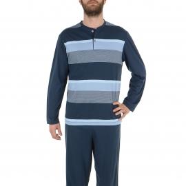 Pyjama long Eminence en jersey de coton mercerisé : tee-shirt col tunisien bleu ardoise à rayures bleues et grises, pantalon bleu ardoise