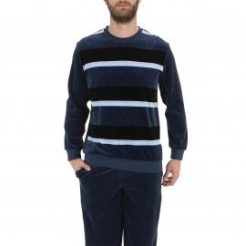 Pyjama forme jogging Eminence en velours : sweat col rond bleu ardoise à rayures, pantalon bleu ardoise