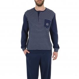 Pyjama long Eminence en coton interlock : tee-shirt col tunisien bleu marine à rayures gris chiné, pantalon bleu marine