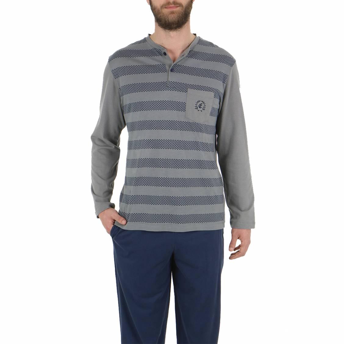 Pyjama long Eminence en jersey de coton gratté : tee-shirt col tunisien gris à rayures effet tiret bleu marine, pantalon bleu marine