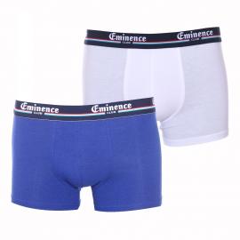 Lot de 2 boxers Eminence Club en coton et modal stretch bleu indigo et blanc