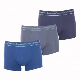 Lot de 3 boxers Business Eminence en coton stretch bleu marine, bleu prusse et gris anthracite