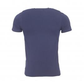 Tee-shirt col V Eminence en jersey de coton stretch bleu nuit