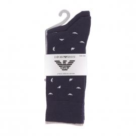 Lot de 2 paires de chaussettes Emporio Armani bleu marine et bleu marine à motifs eagle gris