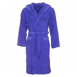 Peignoir de bain à capuche Emporio Armani en coton bleu indigo