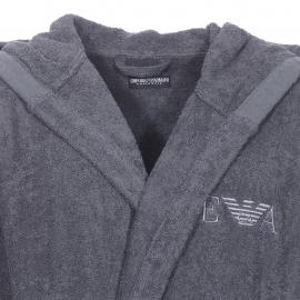 Peignoir de bain à capuche Emporio Armani en coton gris anthracite