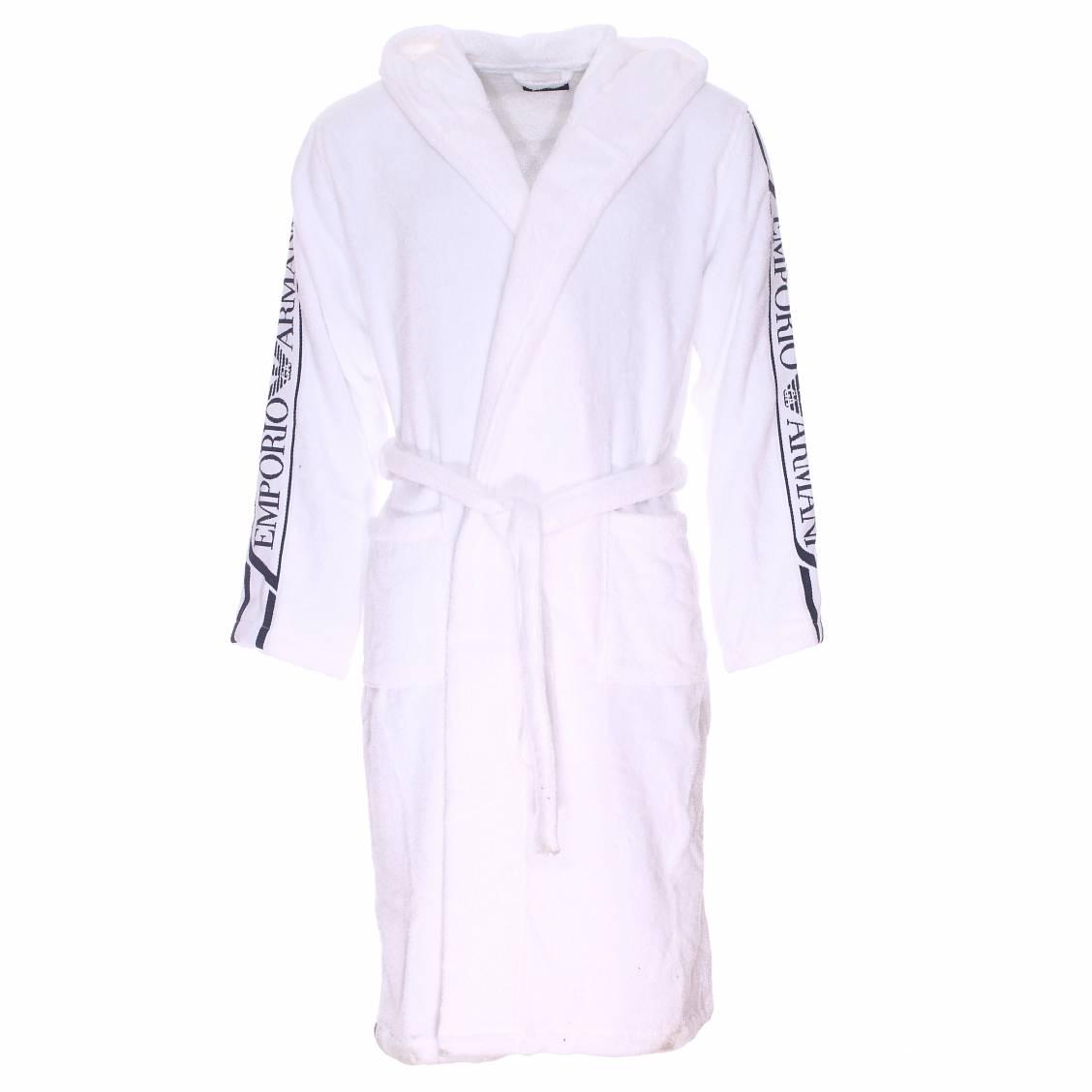 peignoir de bain capuche emporio armani en coton blanc brod sur les manches rue des hommes. Black Bedroom Furniture Sets. Home Design Ideas