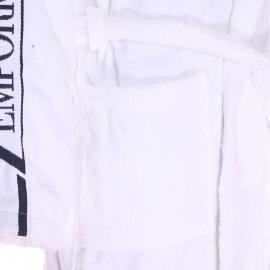 Peignoir de bain à capuche Emporio Armani en coton blanc brodé sur les manches