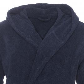 Peignoir de bain à capuche Emporio Armani en coton bleu marine bordé sur les manches
