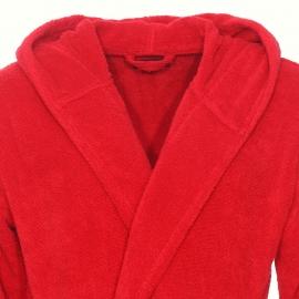 Peignoir de bain à capuche Emporio Armani en coton rouge brodé sur les manches