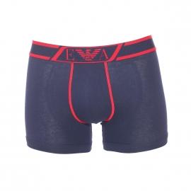 Boxer long Emporio Armani en coton stretch bleu marine à ceinture brodée en rouge