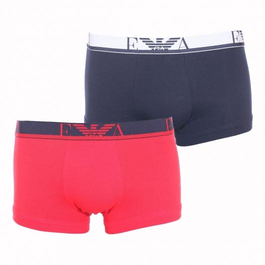 lot de 2 boxers emporio armani en coton stretch bleu marine et rouge rue des hommes. Black Bedroom Furniture Sets. Home Design Ideas