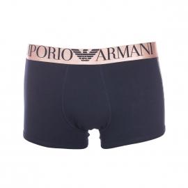 Boxer Emporio Armani en coton stretch bleu marine à ceinture dorée