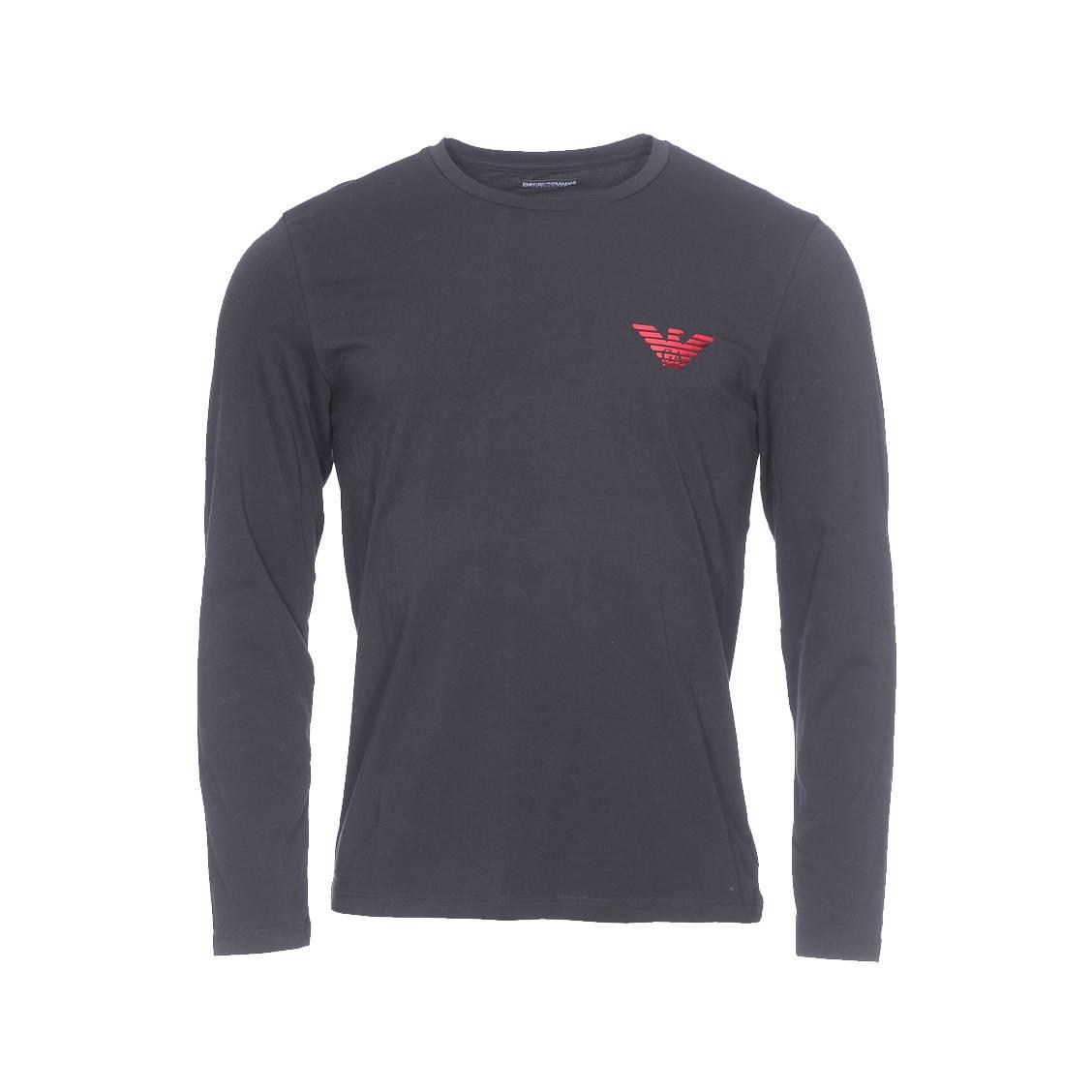 Tee-shirt manches longues  en coton stretch noir floqué en rouge brillant