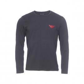 Tee-shirt manches longues Emporio Armani en coton stretch noir floqué en rouge brillant