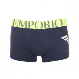 Boxer Emporio Armani en coton stretch bleu marine à ceinture jaune fluo