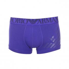 Boxer Emporio Armani en coton stretch violet floqué du logo Eagle en nid d'abeille