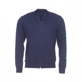 Sweat zippé Emporio Armani bleu marine floqué sur la manche