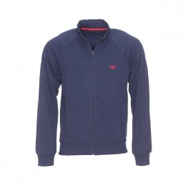 Sweat zippé Emporio Armani en coton bleu marine brodé dans le dos