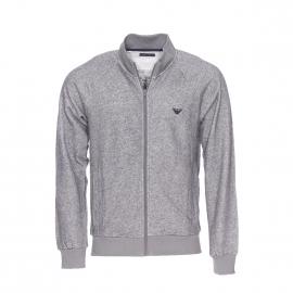 Sweat zippé Emporio Armani gris chiné brodé dans le dos