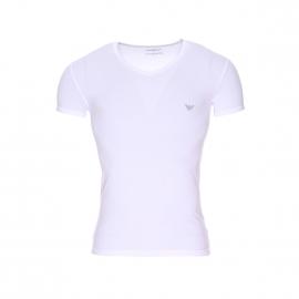 Tee-shirt col V Emporio Armani en coton stretch blanc floqué sur l'épaule