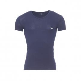 Tee-shirt col V Emporio Armani en coton stretch bleu marine floqué sur l'épaule
