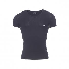 Tee-shirt col V Emporio Armani en coton stretch noir floqué sur l'épaule