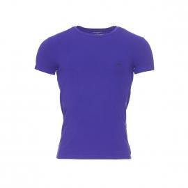 Tee-shirt col rond Emporio Armani en coton stretch bleu indigo, logo EA à motifs nid d'abeille au dos