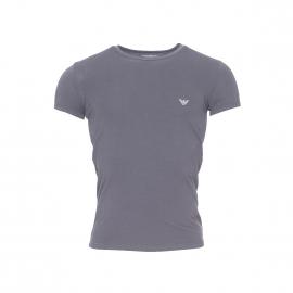 Tee-shirt col rond Emporio Armani en coton stretch gris anthracite, logo EA au dos