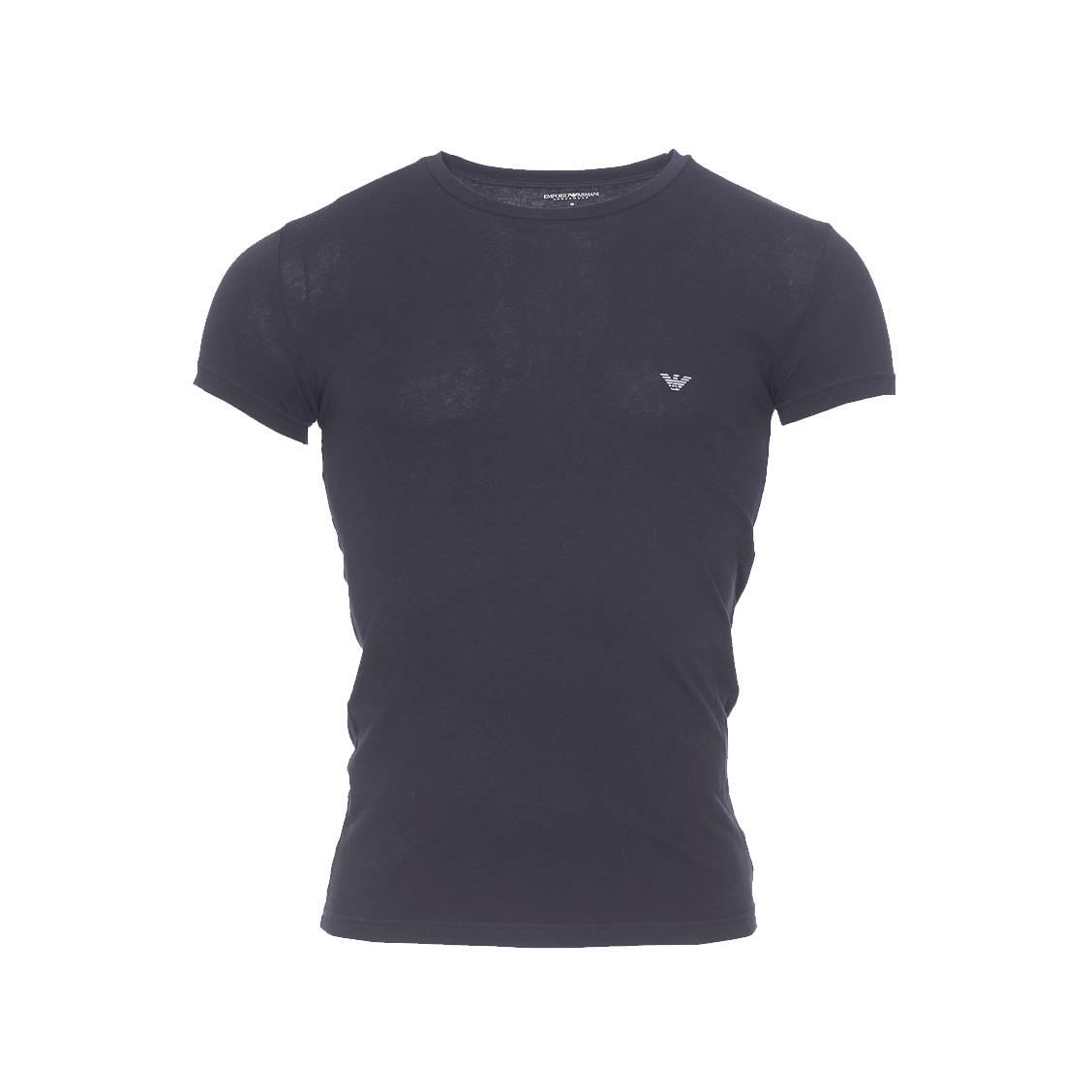 Tee-shirt col rond  en coton stretch noir, logo ea à motifs nid d\'abeille argenté au dos
