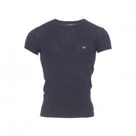 Tee-shirt col rond Emporio Armani en coton stretch noir, logo EA à motifs nid d'abeille argenté au dos