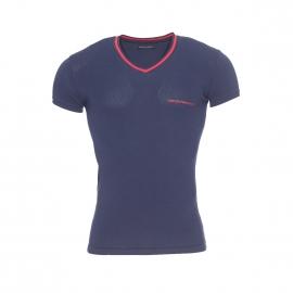 Tee-shirt Emporio Armani en coton stretch bleu marine, col V à bordure rouge