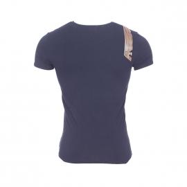 Tee-shirt col rond Emporio Armani en coton stretch bleu marine floqué sur l'épaule en bronze