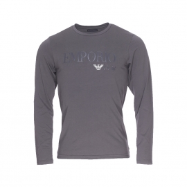 Tee-shirt manches longues Emporio Armani en coton stretch anthracite
