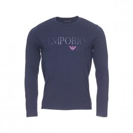 Tee-shirt manches longues Emporio Armani en coton stretch bleu marine floqué sur la poitrine et au dos