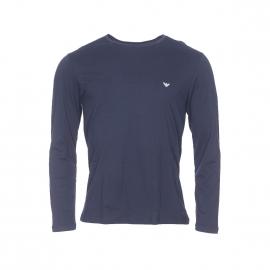 Tee-shirt manches longues Emporio Armani en coton bleu marine à col rond