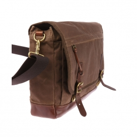 Besace Defender Fossil en toile chocolat patinée, style cartable