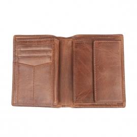 Portefeuille Derrick Fossil 3 volets en cuir marron clair protection RFID