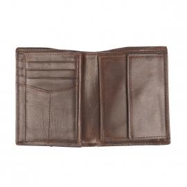 Portefeuille Derrick Fossil 3 volets en cuir marron foncé protection RFID