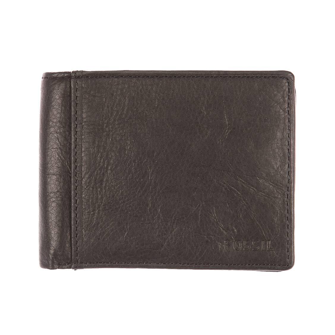 Portefeuille Ingram Fossil en cuir souple noir à 3 volets sA5nR19jf