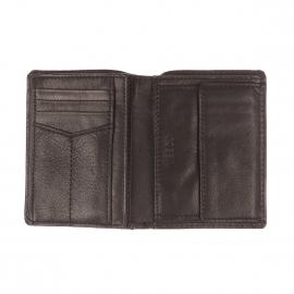Portefeuille européen Ingram Fossil en cuir nervuré noir