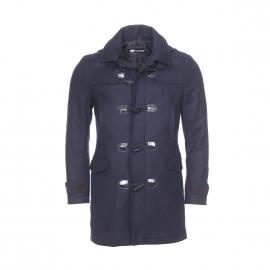 Duffle coat à capuche amovible Gianni Ferrucci en laine mélangée bleu marine