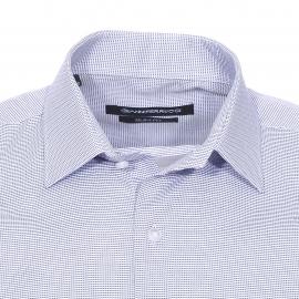 Chemise cintrée Gianni Ferrucci fil à fil blanc et bleu marine