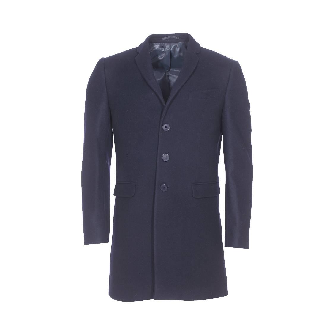 manteau gianni ferrucci en laine et cachemire bleu marine rue des hommes. Black Bedroom Furniture Sets. Home Design Ideas