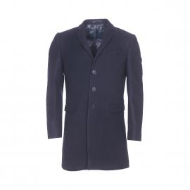 Manteau Gianni Ferrucci en laine et cachemire bleu marine