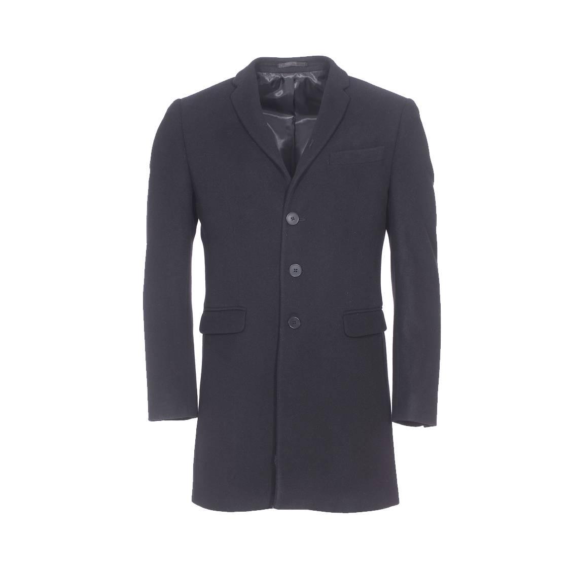 manteau gianni ferrucci en laine et cachemire noir rue des hommes. Black Bedroom Furniture Sets. Home Design Ideas
