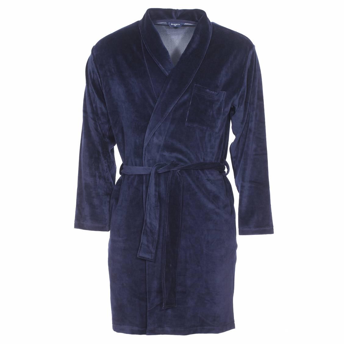 robe chambre guasch en velours bleu marine rue des hommes. Black Bedroom Furniture Sets. Home Design Ideas